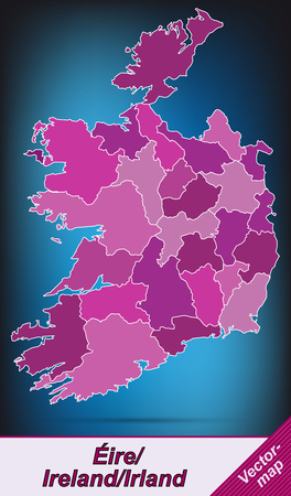 dun: Map of Ireland with borders in violet Illustration