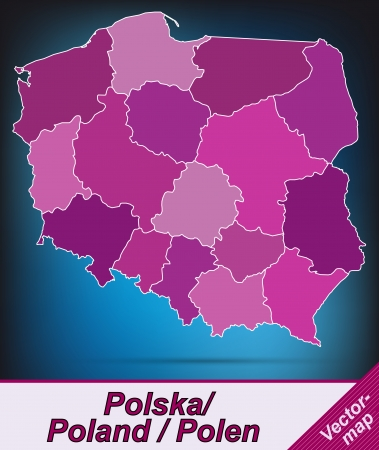 Map of Poland with borders in violet Ilustracja