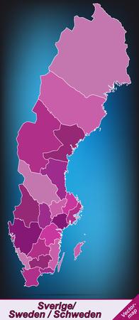 sverige: Map of Sweden with borders in violet