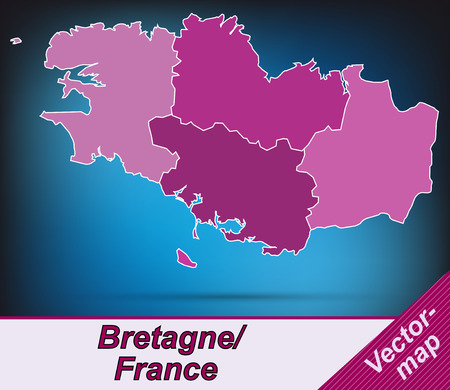 brittany: Map of Brittany with borders in violet