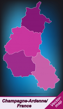 Map of Champagne-Ardenne with borders in violet