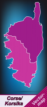 ajaccio: Map of corsica with borders in violet