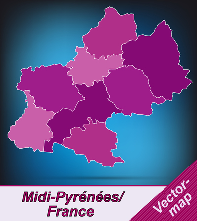 toulouse: Map of Midi-Pyrenees with borders in violet