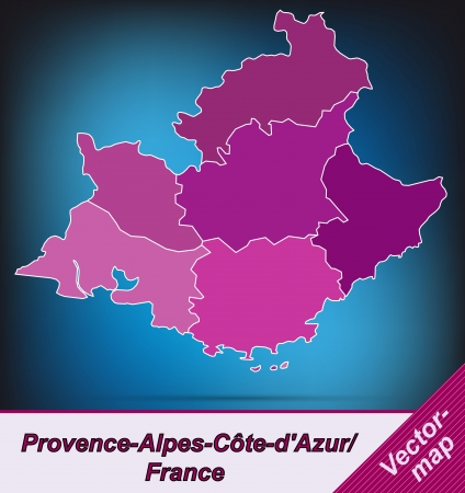 Map of Provence-Alpes-Cote d Azur with borders in violet Vector