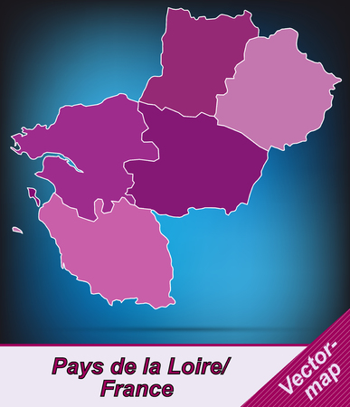 pays: Map of Pays de la Loire with borders in violet Illustration