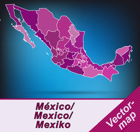 Map of Mexico with borders in violet