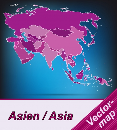 yerevan: Map of Asia with borders in violet Illustration