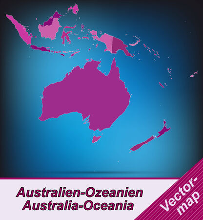 canberra: Map of australia-oceania with borders in violet