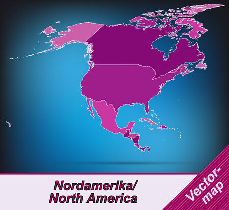mexico city: Map of North America with borders in violet