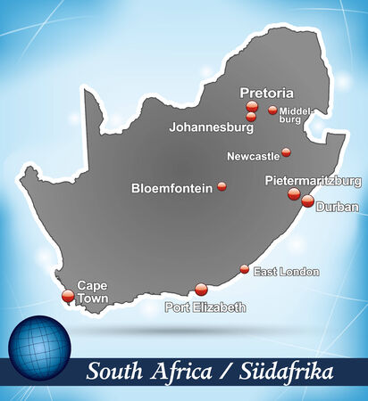 Map of south africa with abstract background in blue