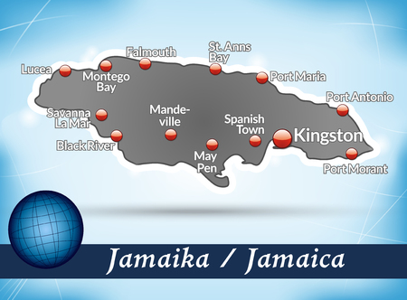 black maria: Map of Jamaica with abstract background in blue Illustration