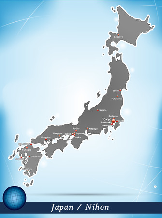 nihon: Map of Japan with abstract background in blue