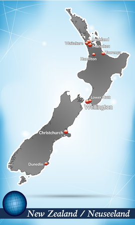 hamilton: Map of new zealand with abstract background in blue