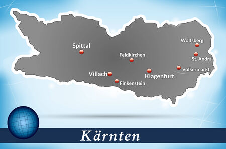 spittal: Map of kaernten with abstract background in blue