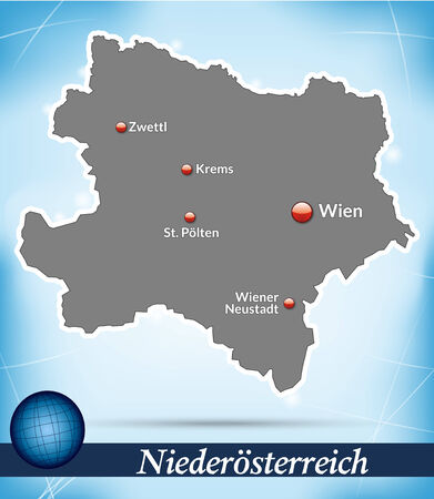 Map of Lower Austria with abstract background in blue Vector