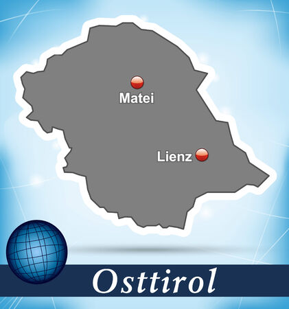 Map of East Tyrol with abstract background in blue Vector