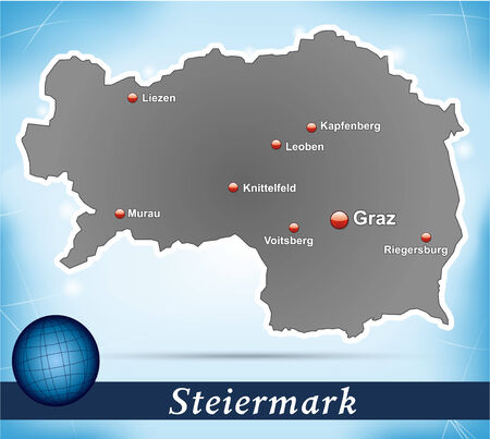 Map of styria with abstract background in blue