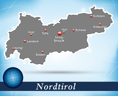 Map of tyrol with abstract background in blue Vector