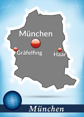 m�nchen: Kaart van München met abstracte achtergrond in blauw