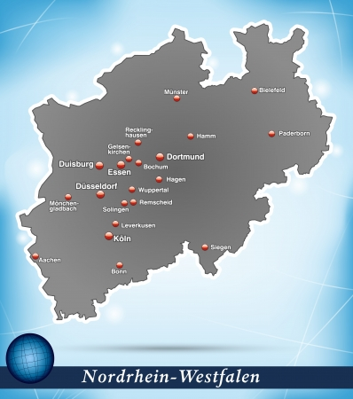 rhine westphalia: Map of North Rhine-Westphalia with abstract background in blue Illustration