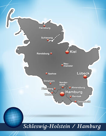 holstein: Map of Schleswig-Holstein with abstract background in blue