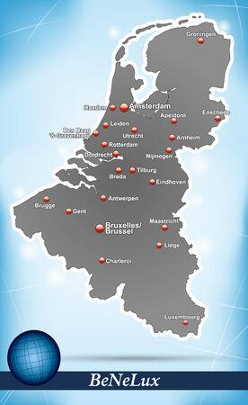 Kaart van de Benelux met abstracte achtergrond in blauw