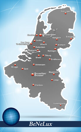 benelux: Map of Benelux with abstract background in blue