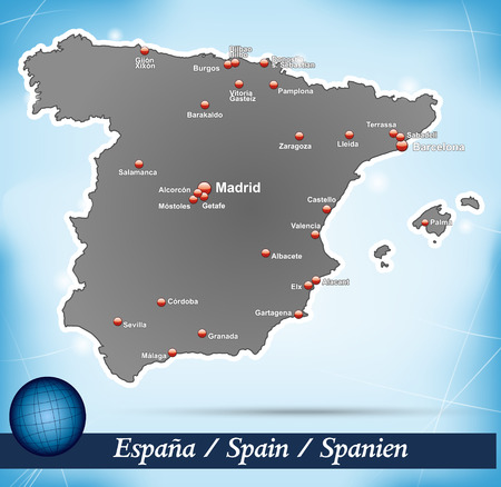 bilbao: Map of Spain with abstract background in blue