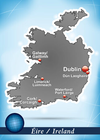 dun: Map of Ireland with abstract background in blue Illustration