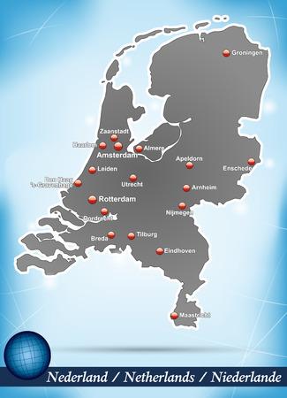 Kaart van Nederland met abstracte achtergrond in blauw