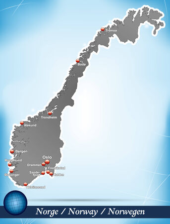 Map of Norway with abstract background in blue Illustration