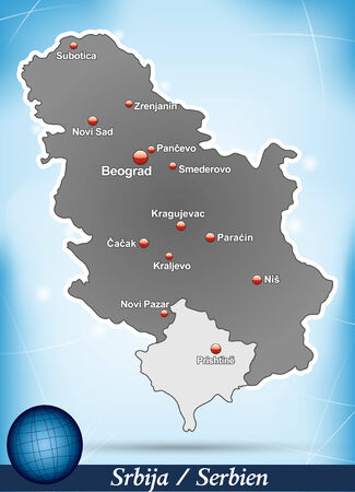 Map of Serbia with abstract background in blue Çizim