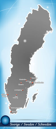 sverige: Map of Sweden with abstract background in blue