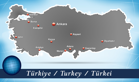 bursa: Map of Turkey with abstract background in blue