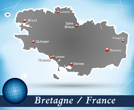 brittany: Map of Brittany with abstract background in blue