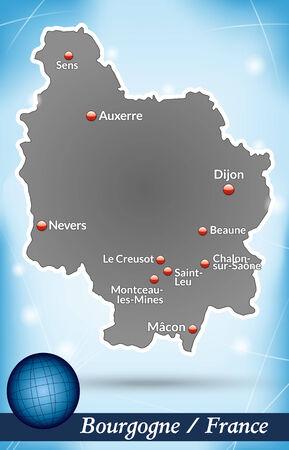 leu: Mappa di Borgogna con sfondo astratto in blu
