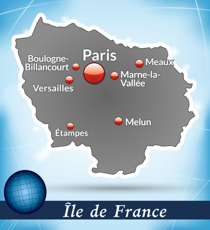 versailles   france: Map of Ile-de-France with abstract background in blue