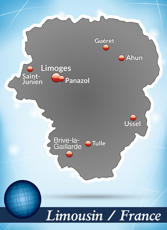 limousin: Map of limousin with abstract background in blue Illustration