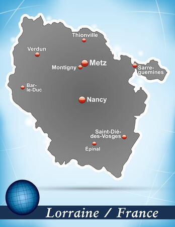 Map of lorraine with abstract background in blue