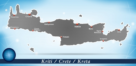 Map of Crete with abstract background in blue Illustration