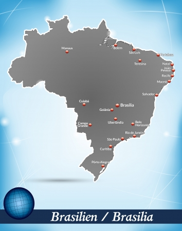Map of Brazil with abstract background in blue Vector