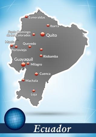 loja: Mapa de Ecuador con el fondo abstracto en azul