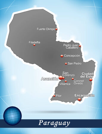 Map of Paraguay with abstract background in blue Ilustração