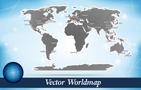 Map of world with abstract background in blue Vector