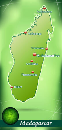 madagascar: Map of Madagascar with abstract background in green Illustration