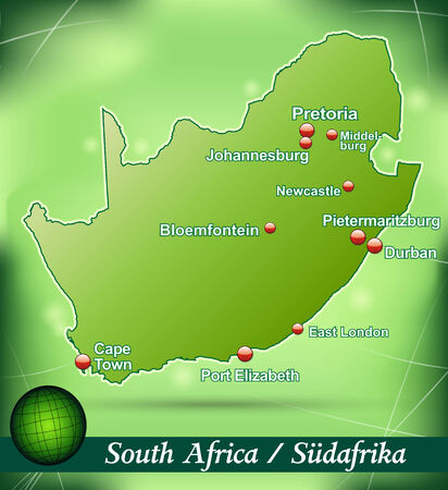 Map of south africa with abstract background in green Illustration