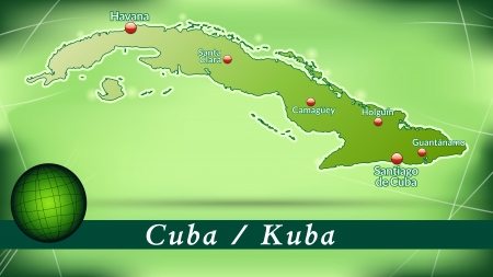 guantanamo: Map of Cuba with abstract background in green
