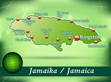 black maria: Map of Jamaica with abstract background in green Illustration