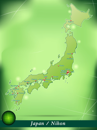 kobe: Map of Japan with abstract background in green