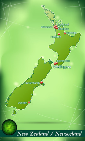 hamilton: Map of new zealand with abstract background in green